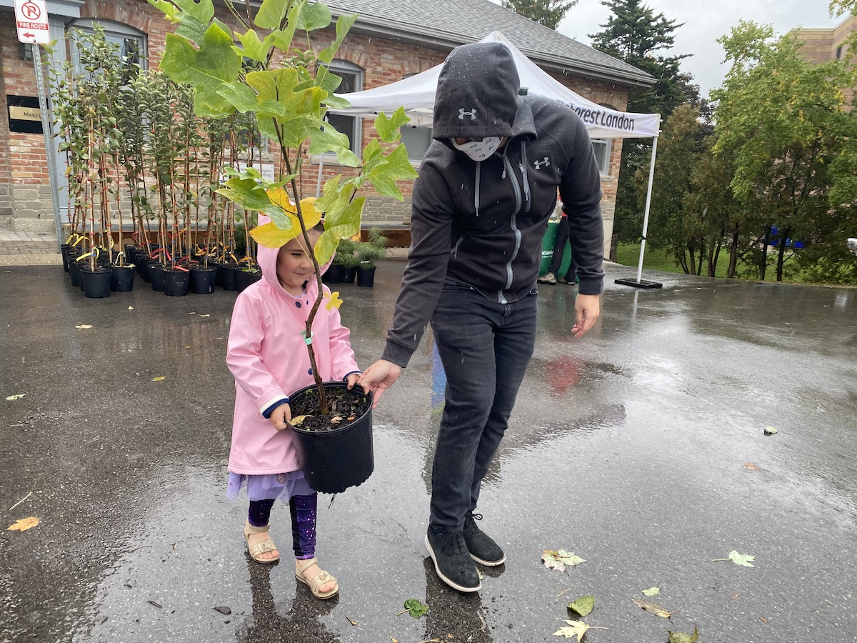 Father and Daughter visit the Neighbourhood Tree Depot.