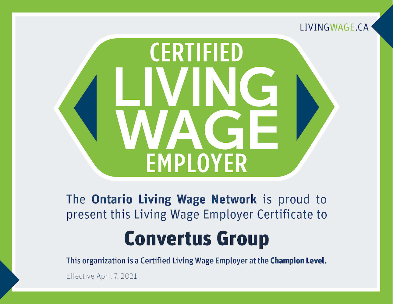 Living Wage Award Certificate for Convertus Group