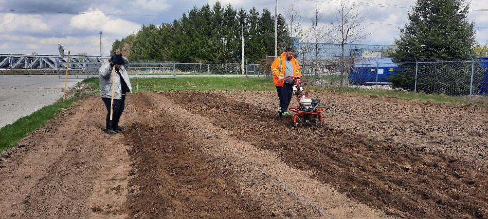 2 men composting a field for planting